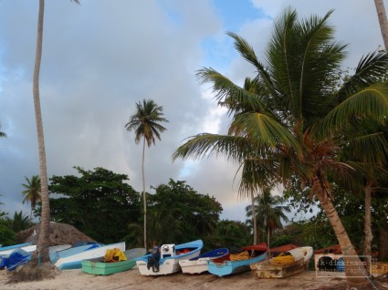 Colorful boats in Las Galeras