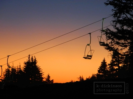 Sunset view of the chairlift at Timberline Lodge.