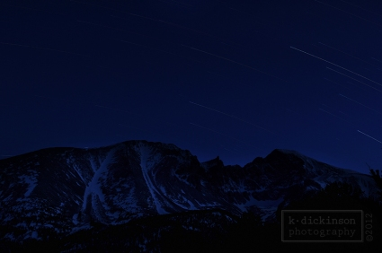 A few star trails at Wheeler Peak.