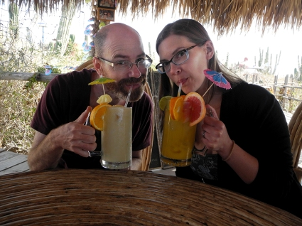 My friend Tim and I drinking margaritas.