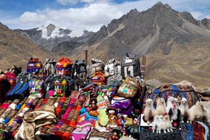 Colorful wares on display on La Raya pass in Peru.