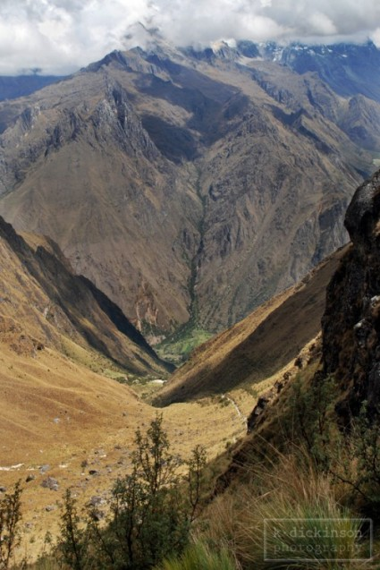 Inca Trail Day 2. Standing on Dead Woman's Pass (just under 14,000 feet) looking down at the trail we had just hiked.