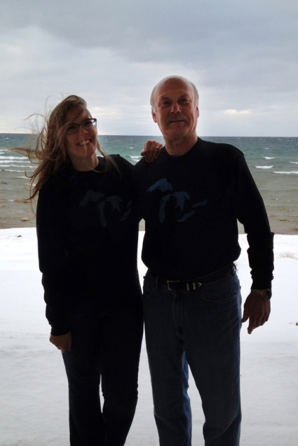 Okay, so it was obviously quite cold and windy, but I asked my mom to take this picture of my dad and I wearing our matching Great Lakes shirts in front of a Great Lake. I think it's awesome!