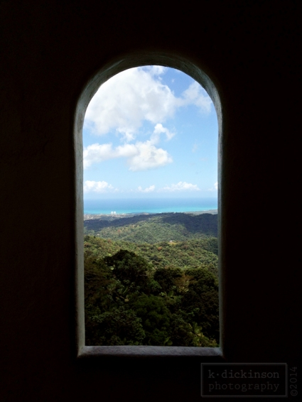 Looking out a window at Yokahu Tower at El Yunque National Forest.
