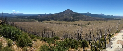 Hat Creek Rim Overlook - Lassen Peak on the left and Mt. Shasta on the right.