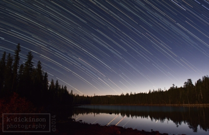 startrails at snag lake, california